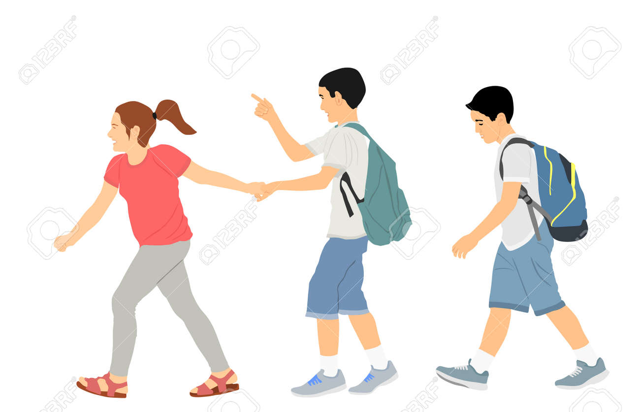Laughing kids going to school together, vector illustration. Back to school. Boy and girl with backpack. Happy kids friends. Happy Schoolkids education. Sister hold hand brother to crossing street. - 173431556