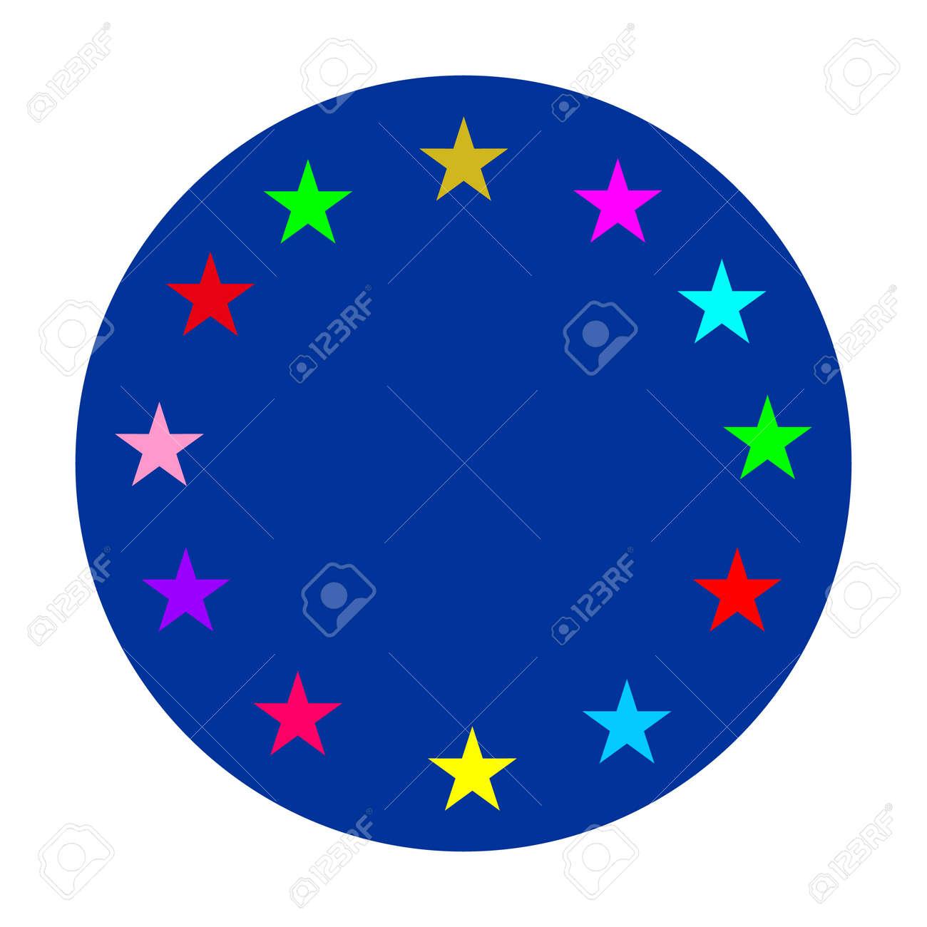 European Union circle vector flag or LGBT badge vector flag sign isolated. Gay culture banner symbol. - 173431582