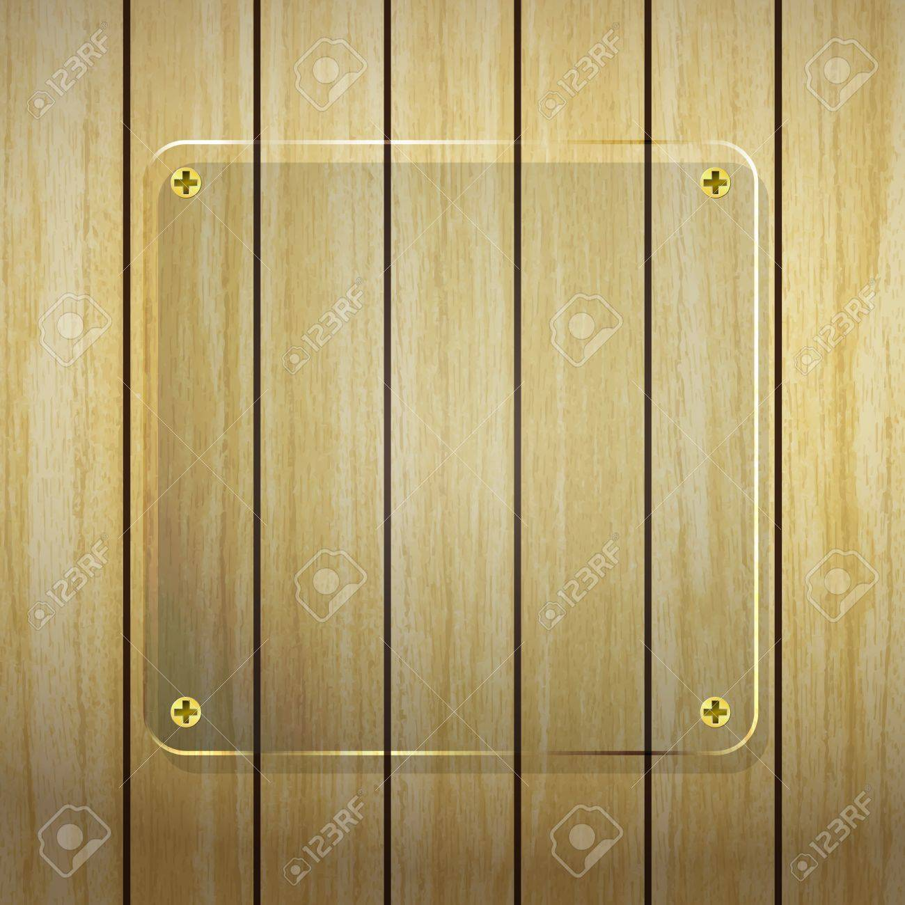 new transparent glass frame on wood planks background can use for web design Stock Vector - 18357206