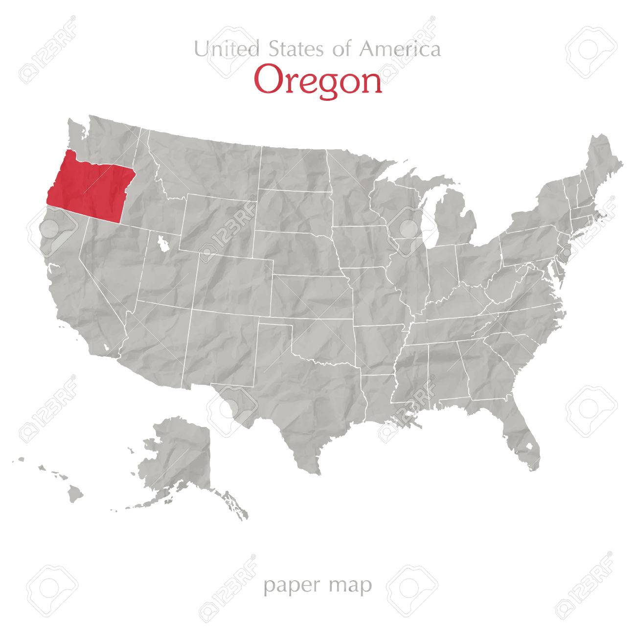 Oregon And United States Outline Map Isolated On White Background - Oregon map us