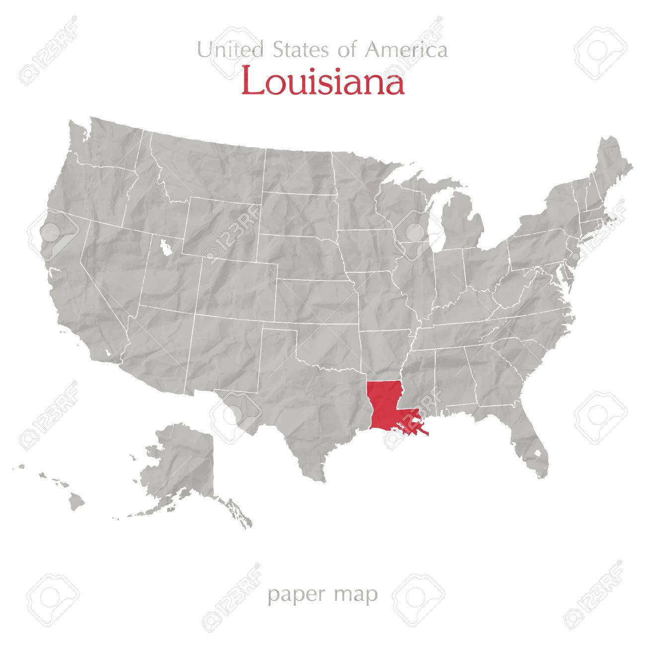 Map Of Louisiana Territory.United States Of America Map And Louisiana Territory On Paper