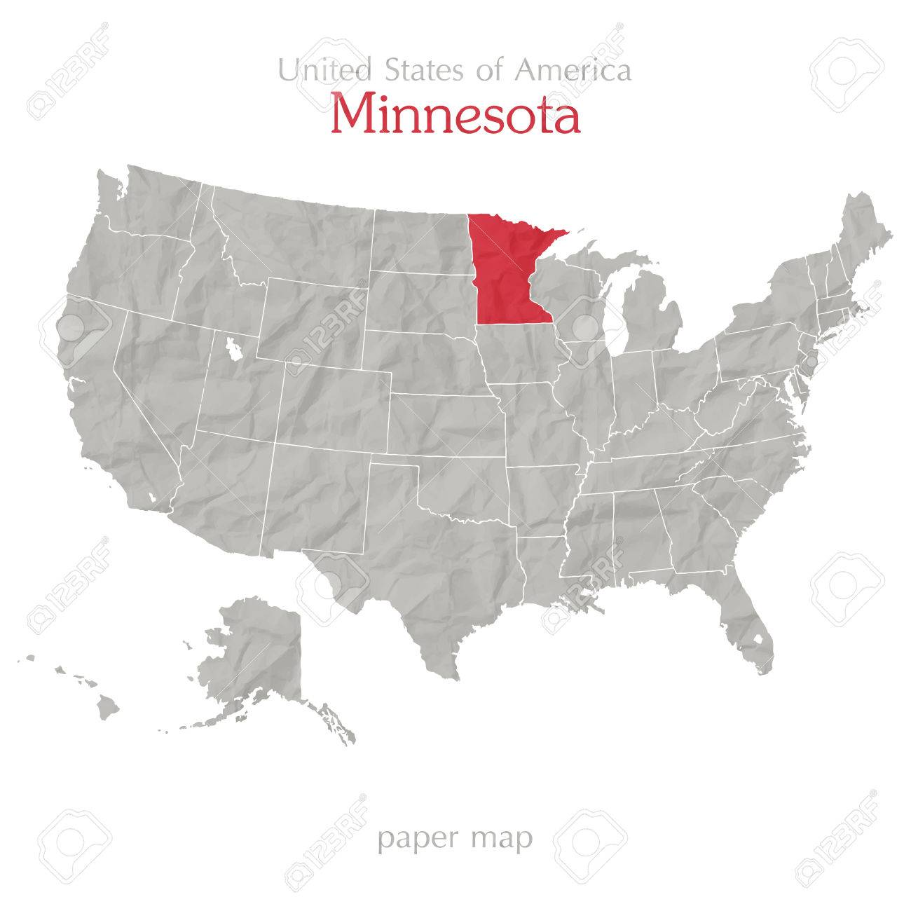 United States Of America Map And Minnesota Territory On Paper ...