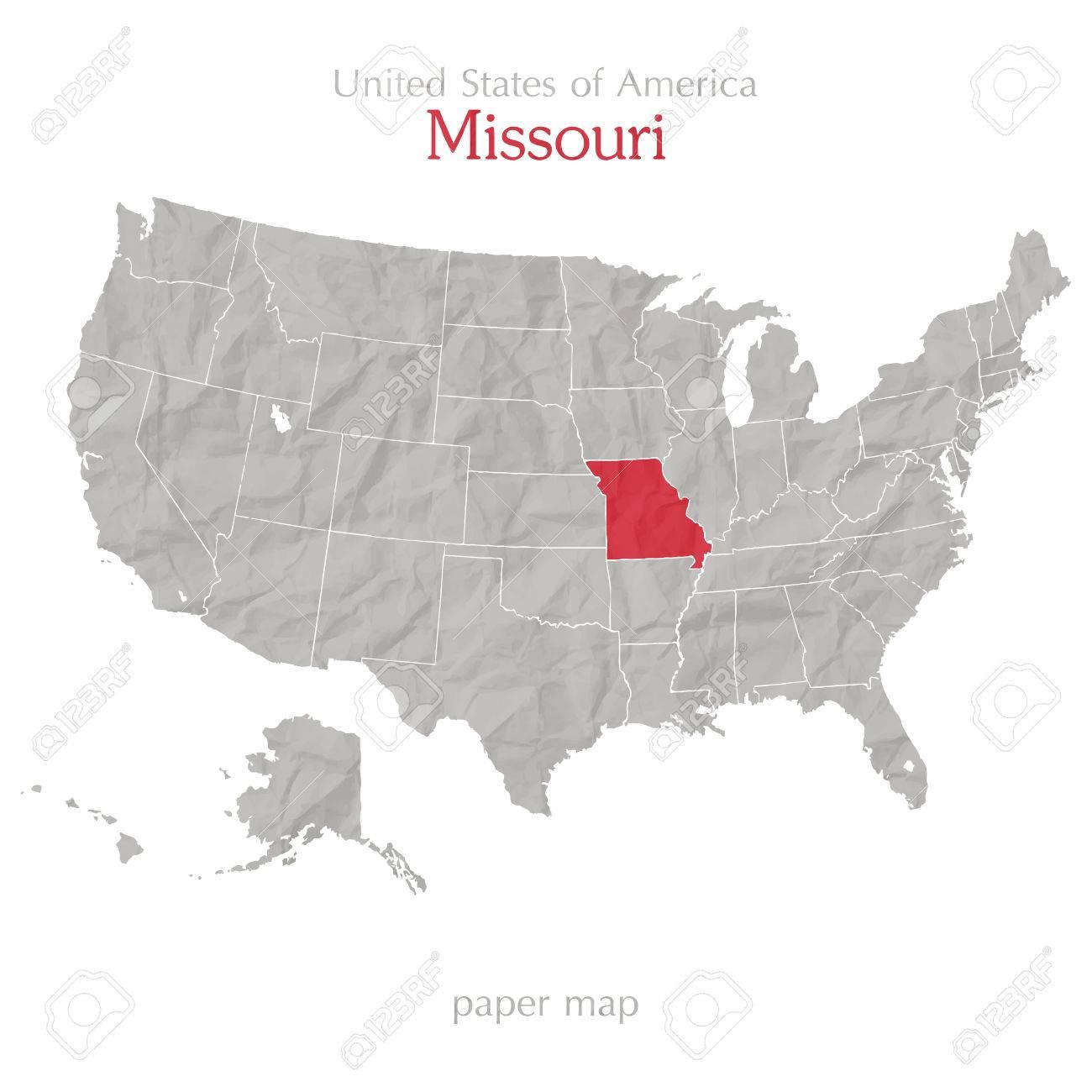 United States Of America Map And Missouri Territory On Paper - United states map of missouri