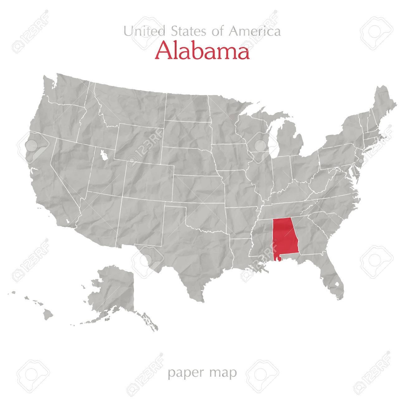 United States Of America Map And Alabama State Territory On Textured ...