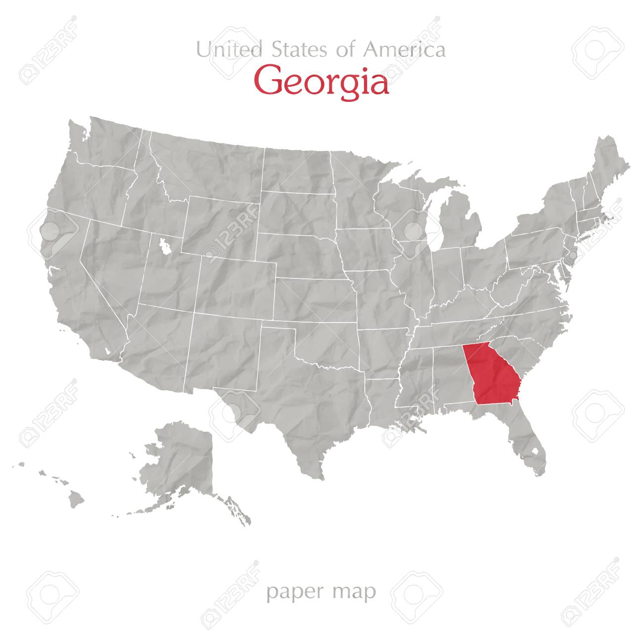 United States Of America Map And Georgia State Territory Isolated