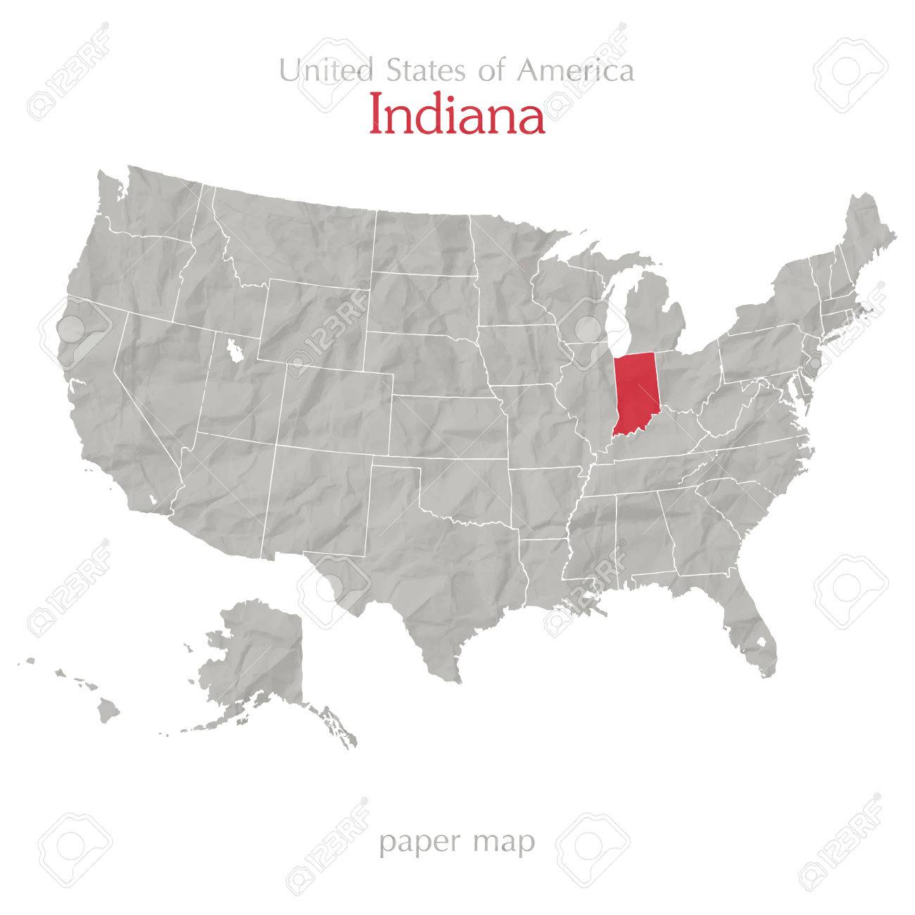 United States Of America Map And Indiana State Territory On Shabby - Indiana state on us map