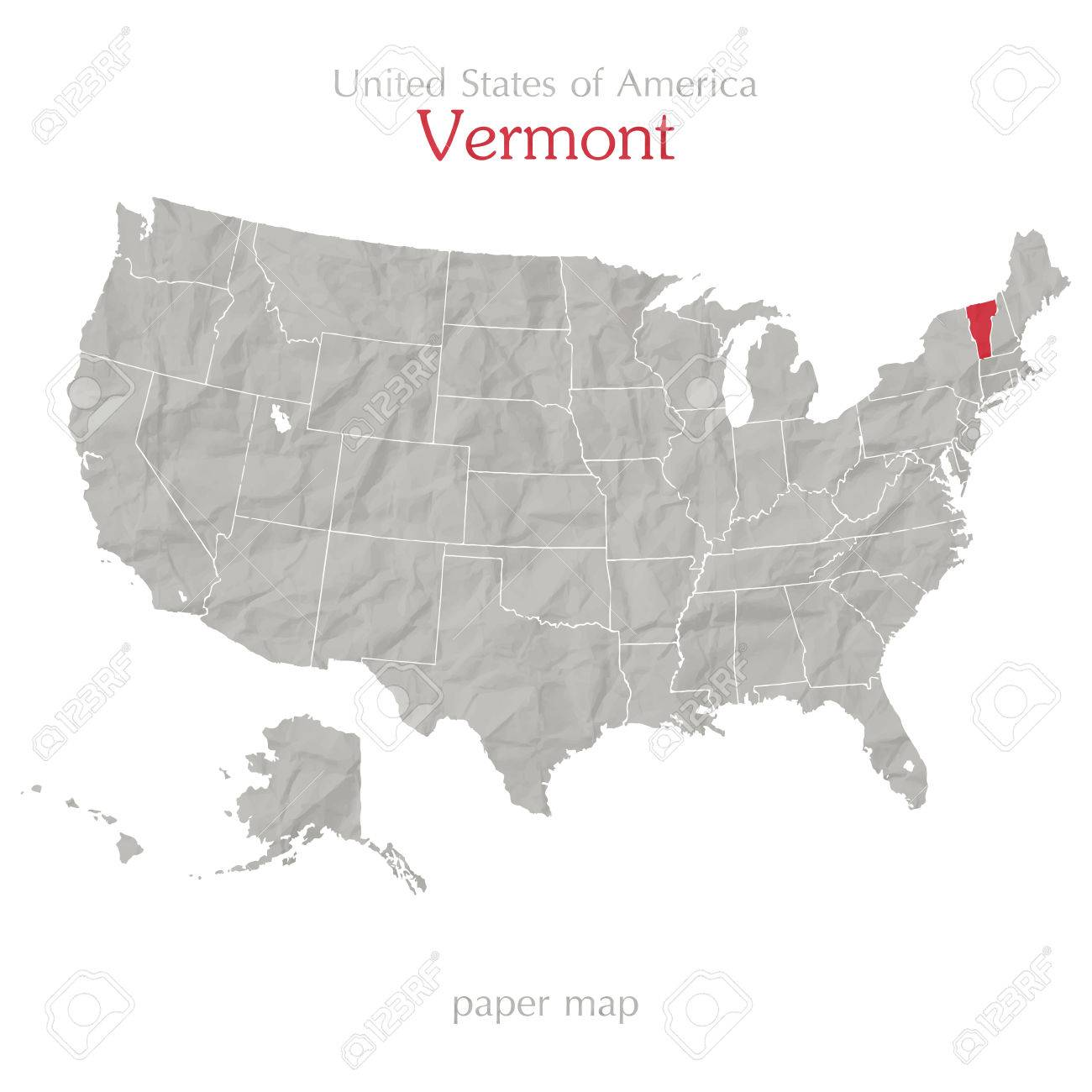 United State Of America Map.United States Of America Map And Vermont State Territory On Textured