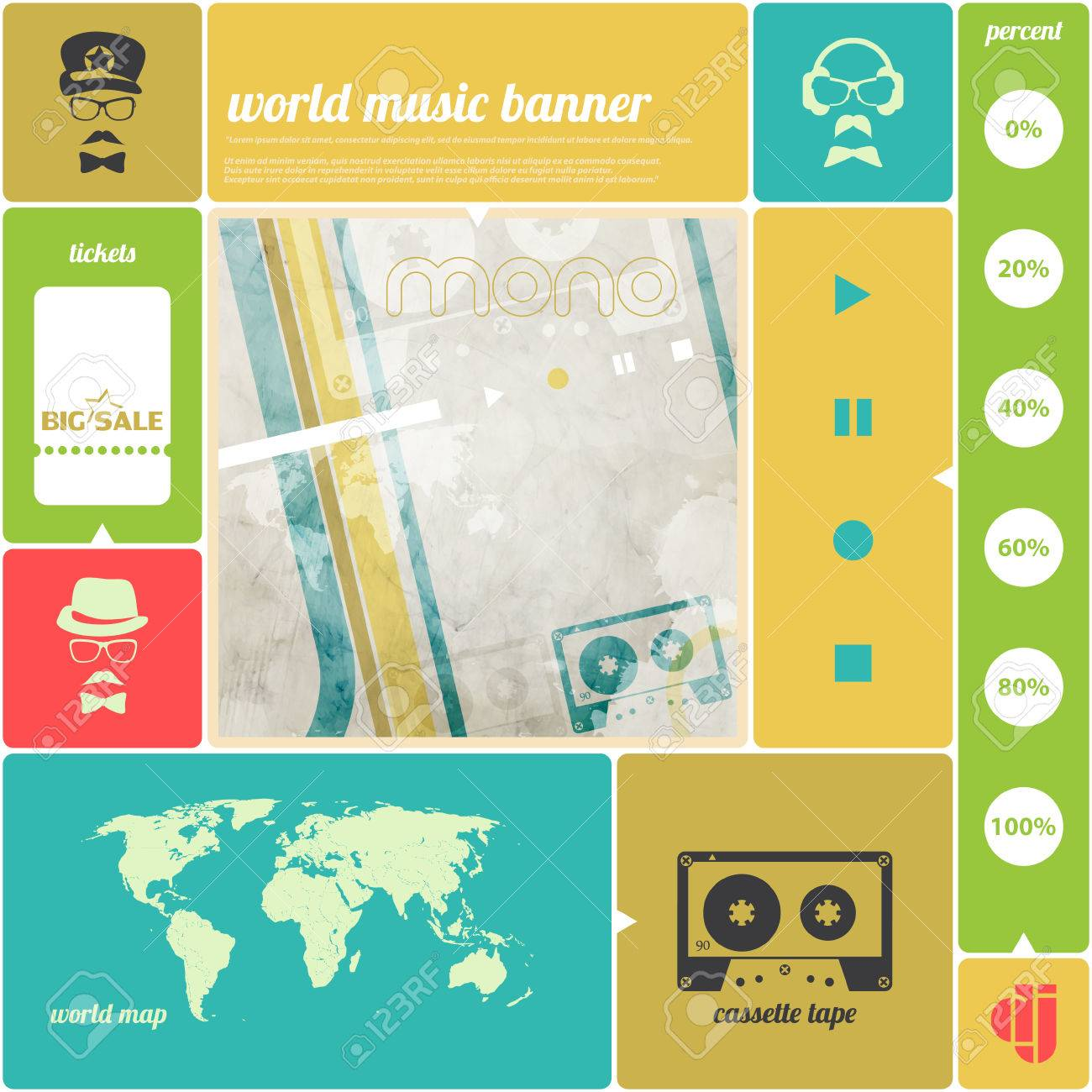 Music infographics banner with cassette tape icon world map poster music infographics banner with cassette tape icon world map poster template vector background gumiabroncs Choice Image