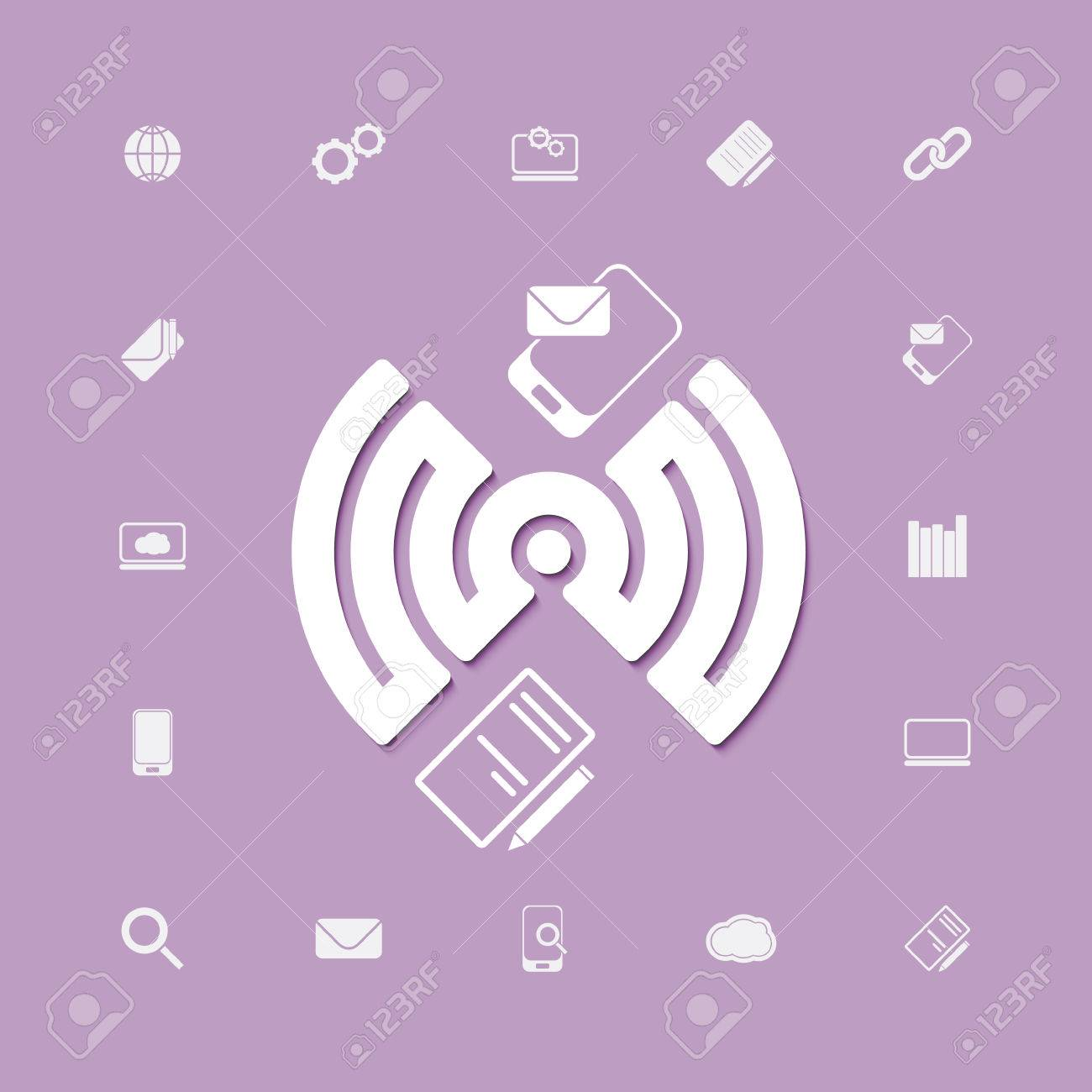 compose and send via wifi connection icons vector web design