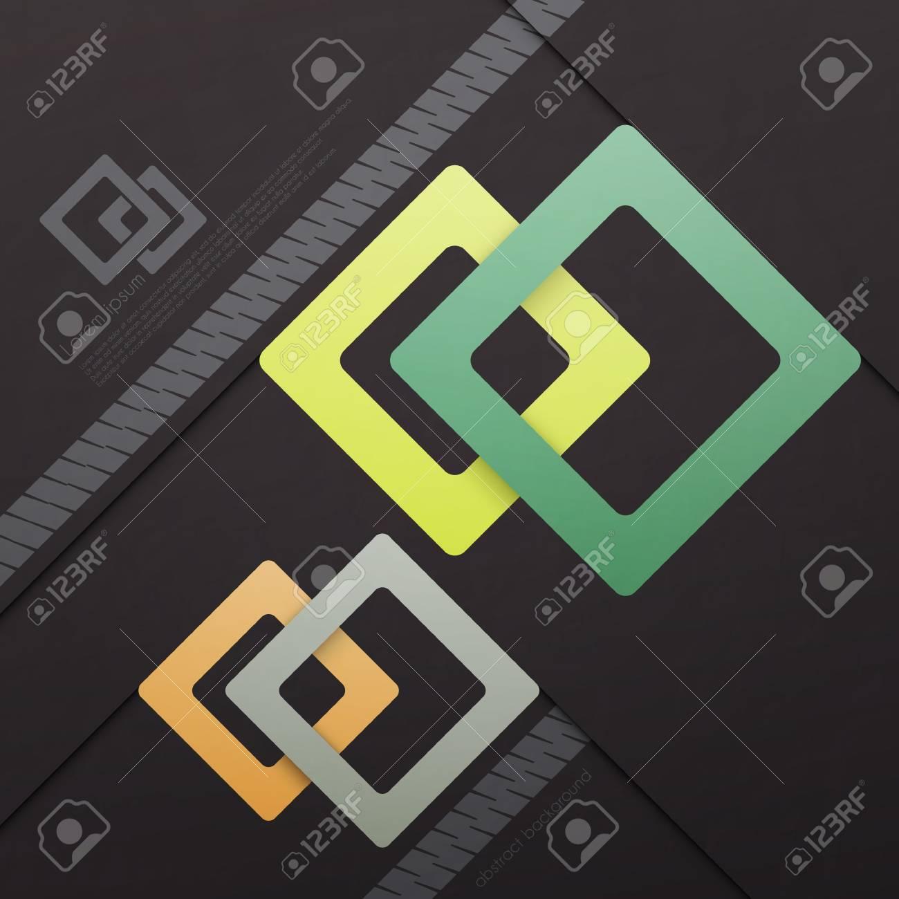 Fondo Abstracto Con Cuadrados De Colores Sobre Papel De Textura ...