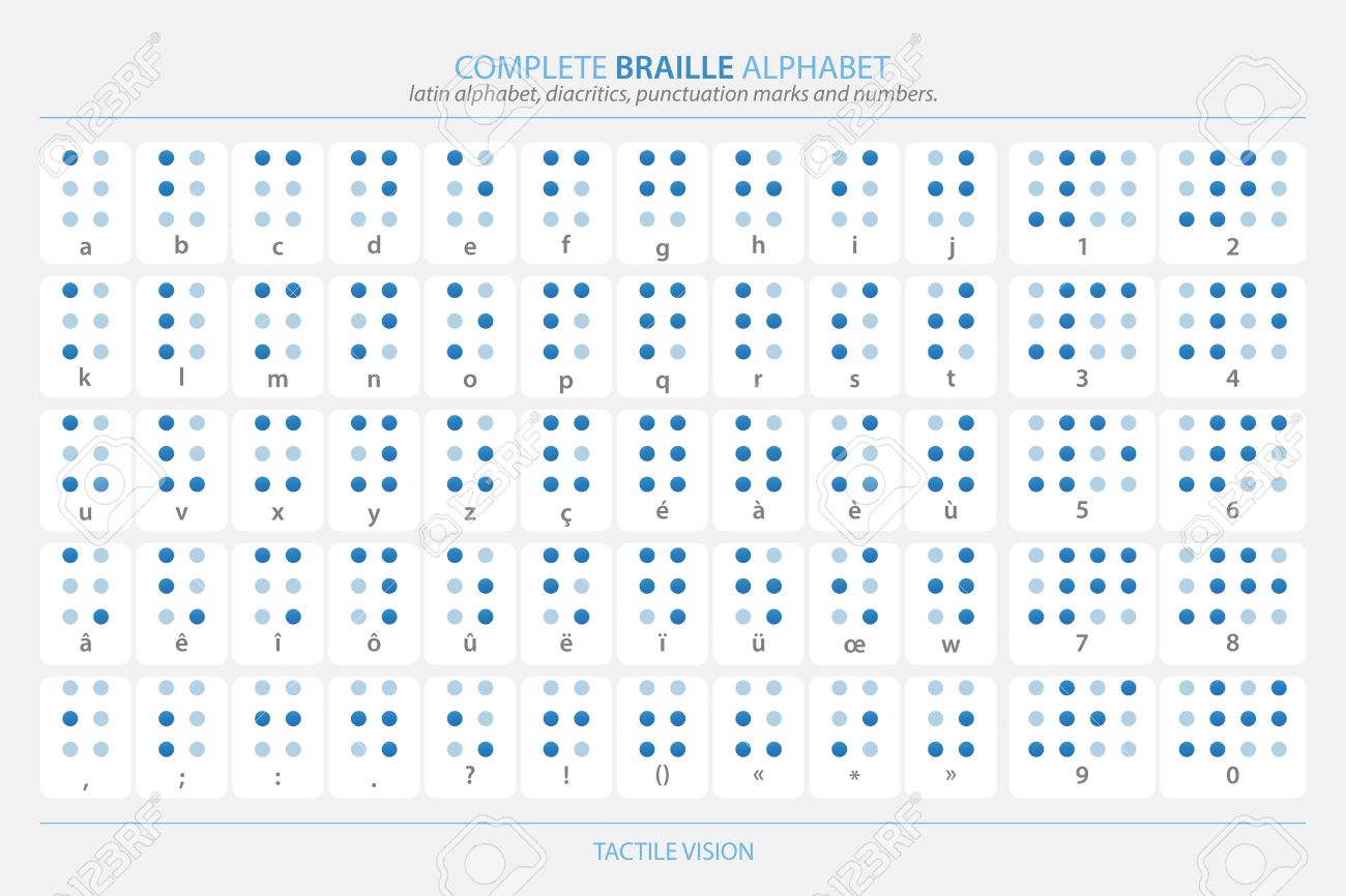 vector full braille alphabet poster with latin letters numbers diacritics and punctuation marks isolated on white vector tactile aid signs