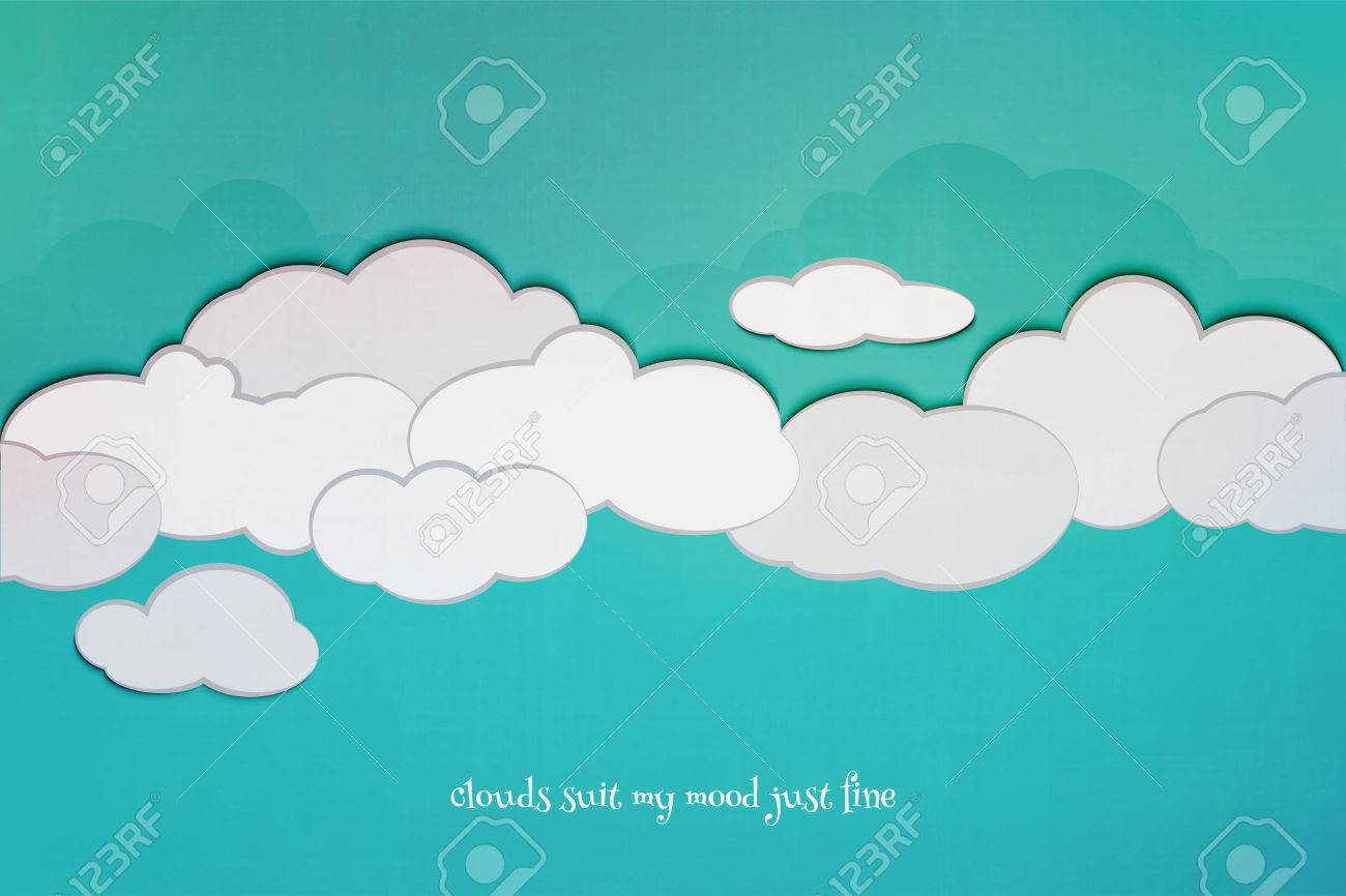 Poster design environment - Vector Cartoon Style Cloudscape And Blue Sky Over Textured Paper Vector Poster Design Environment And Weather Concept