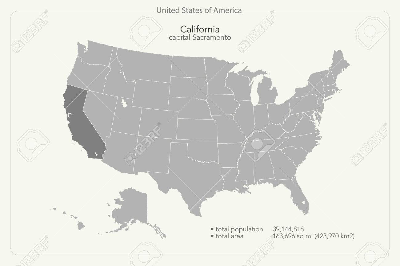 United States of America isolated map and California state territory...
