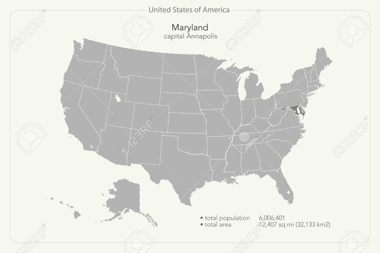 United States of America isolated map and Maryland State territory...