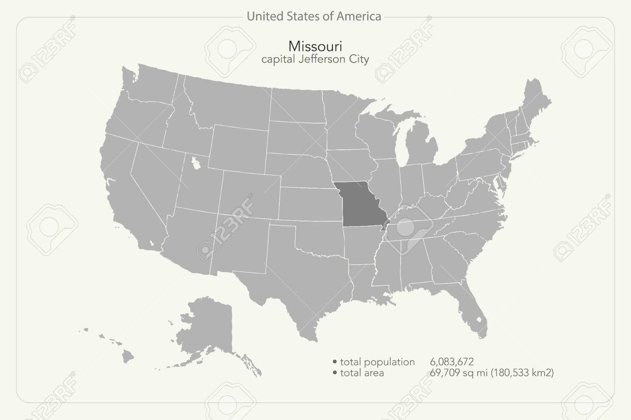 United States Of America Isolated Map And Missouri State Territory