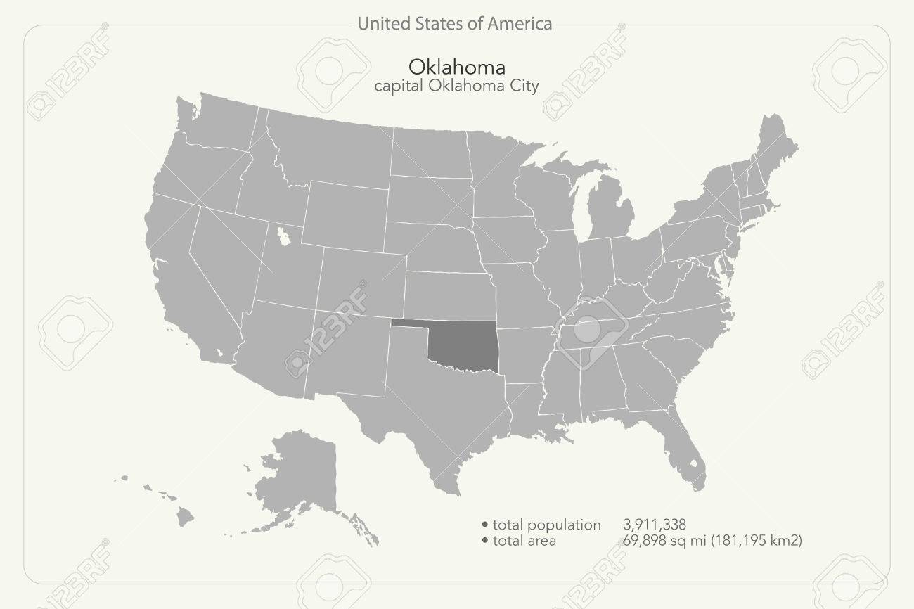 United States Of America Isolated Map And Oklahoma State Territory