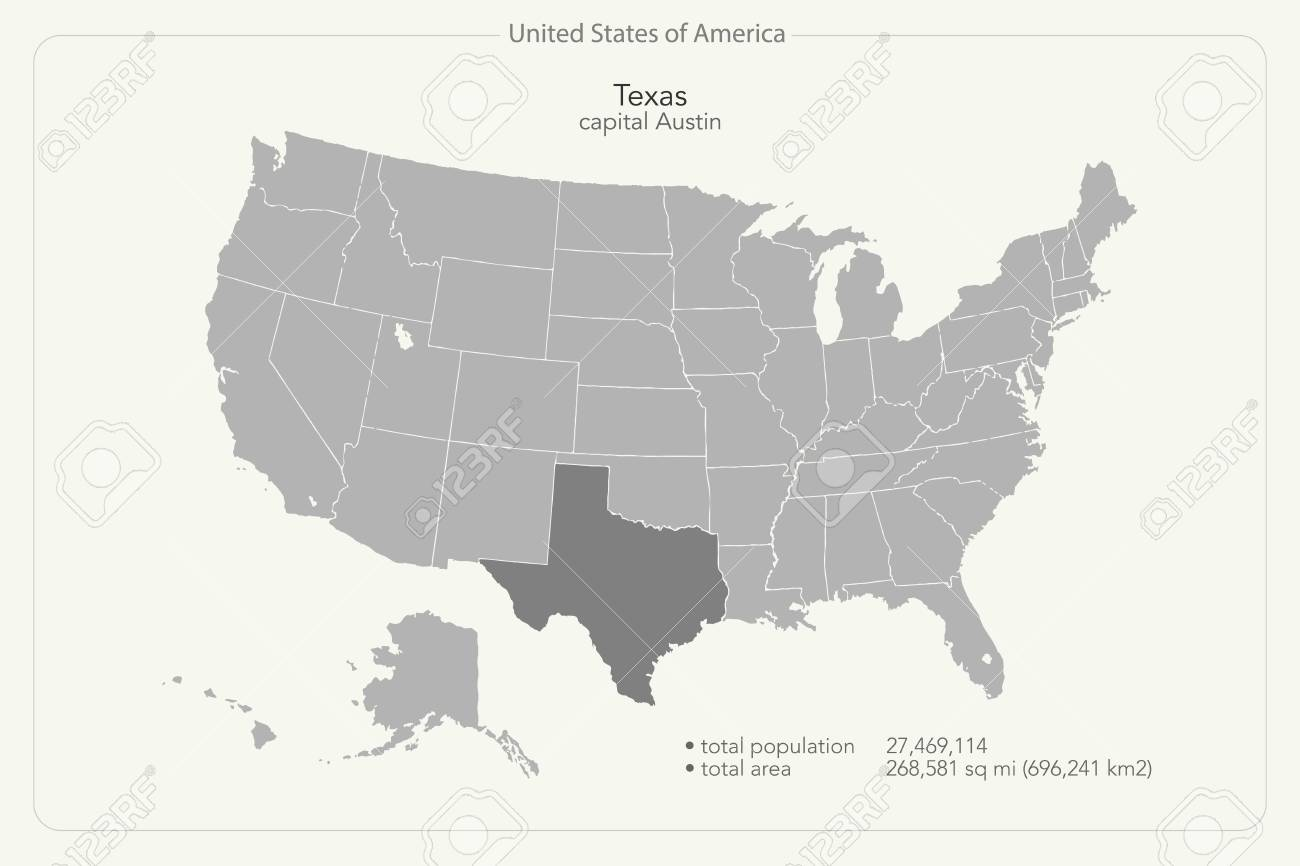 United States Of America Isolated Map And Texas State Territory