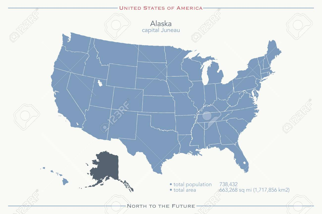 Political Map Of Alaska.United States Of America Isolated Map And Alaska State Territory