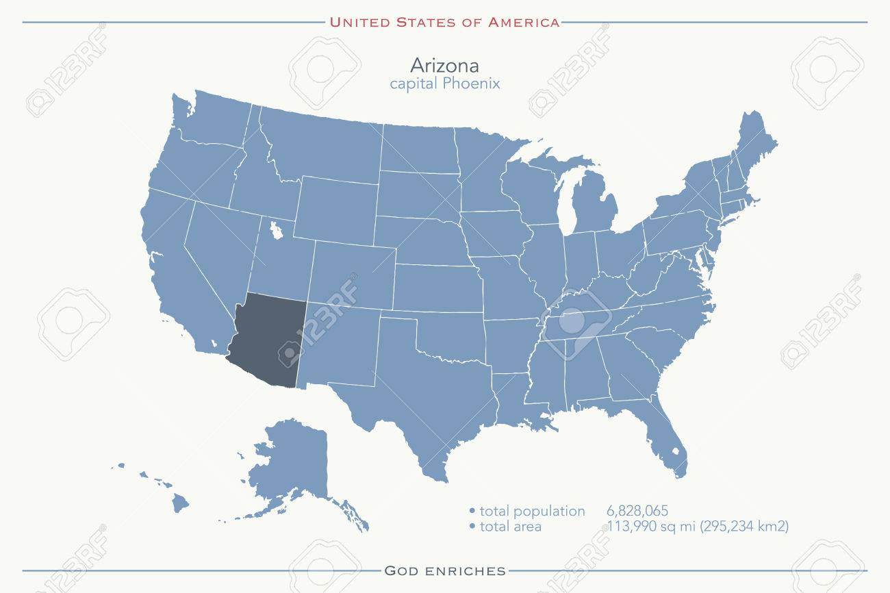 United States Of America Isolated Map And Arizona State Territory