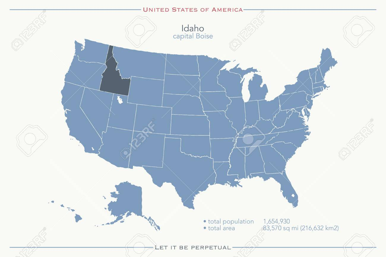 United States Of America Isolated Map And Idaho State Territory