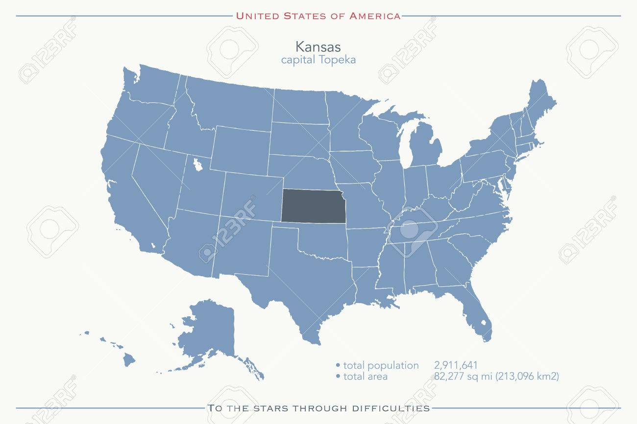 United States Of America Isolated Map And Kansas State Territory ...