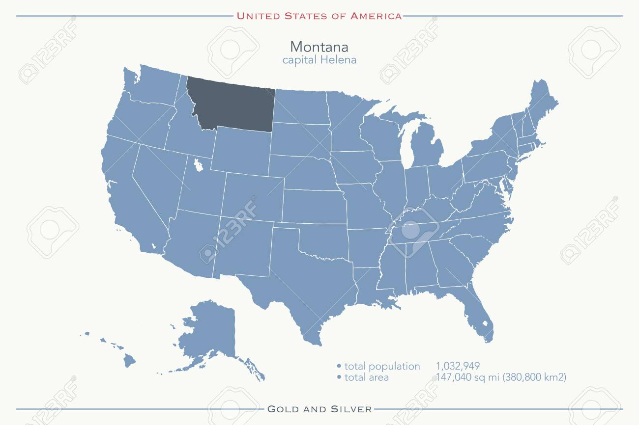United States Of America Isolated Map And Montana State Territory ...
