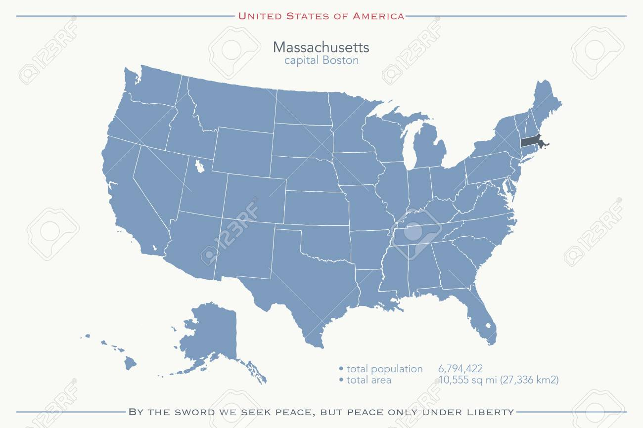 Massachusetts On The Us Map.United States Of America Isolated Map And Massachusetts State
