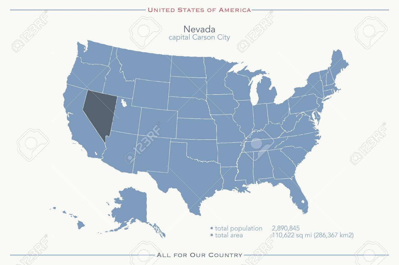 United States of America isolated map and Nevada State territory...