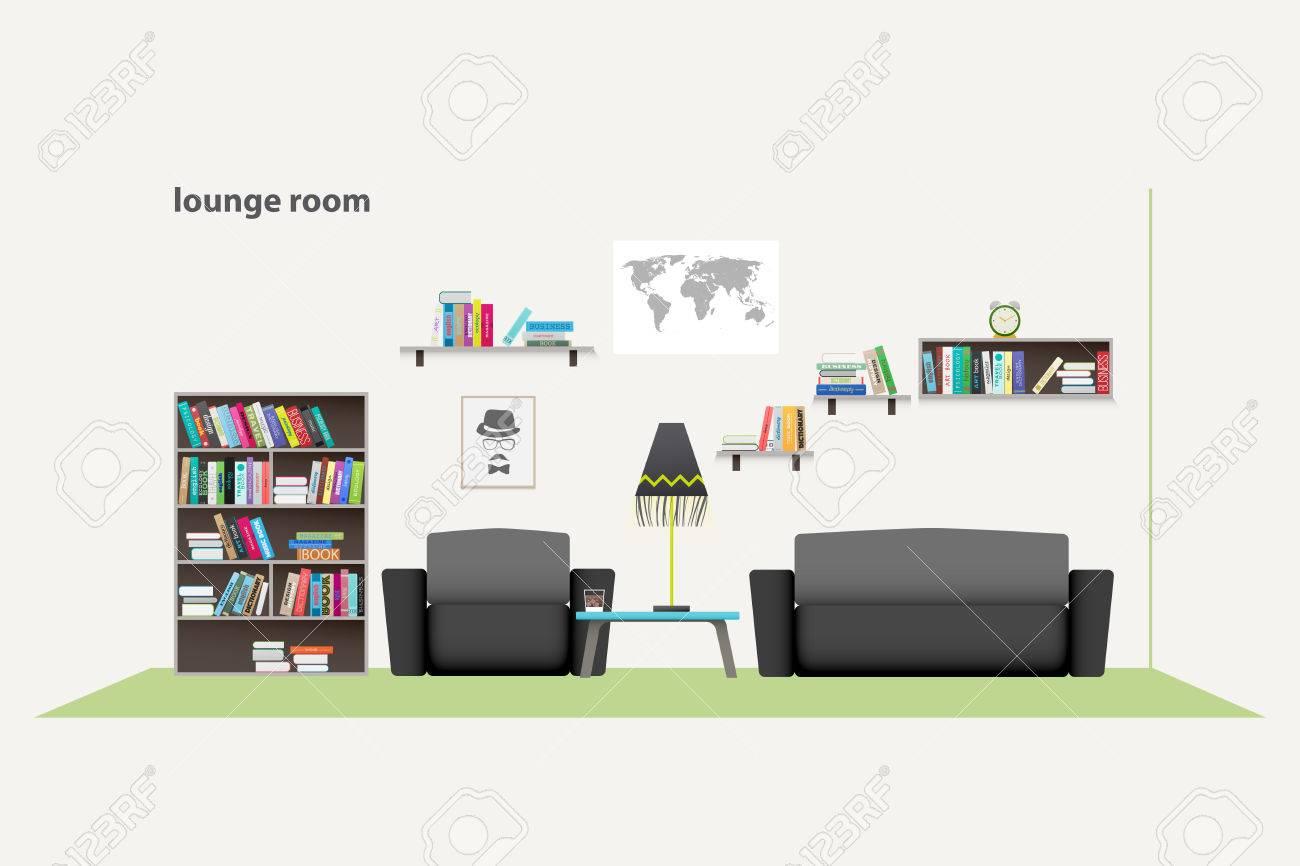 Wohnung Stil Entspannte Interieur. Stilvolle Wohnzimmer Illustration.  Lifestyle Konzept, Luxus Wohnung Dekoration