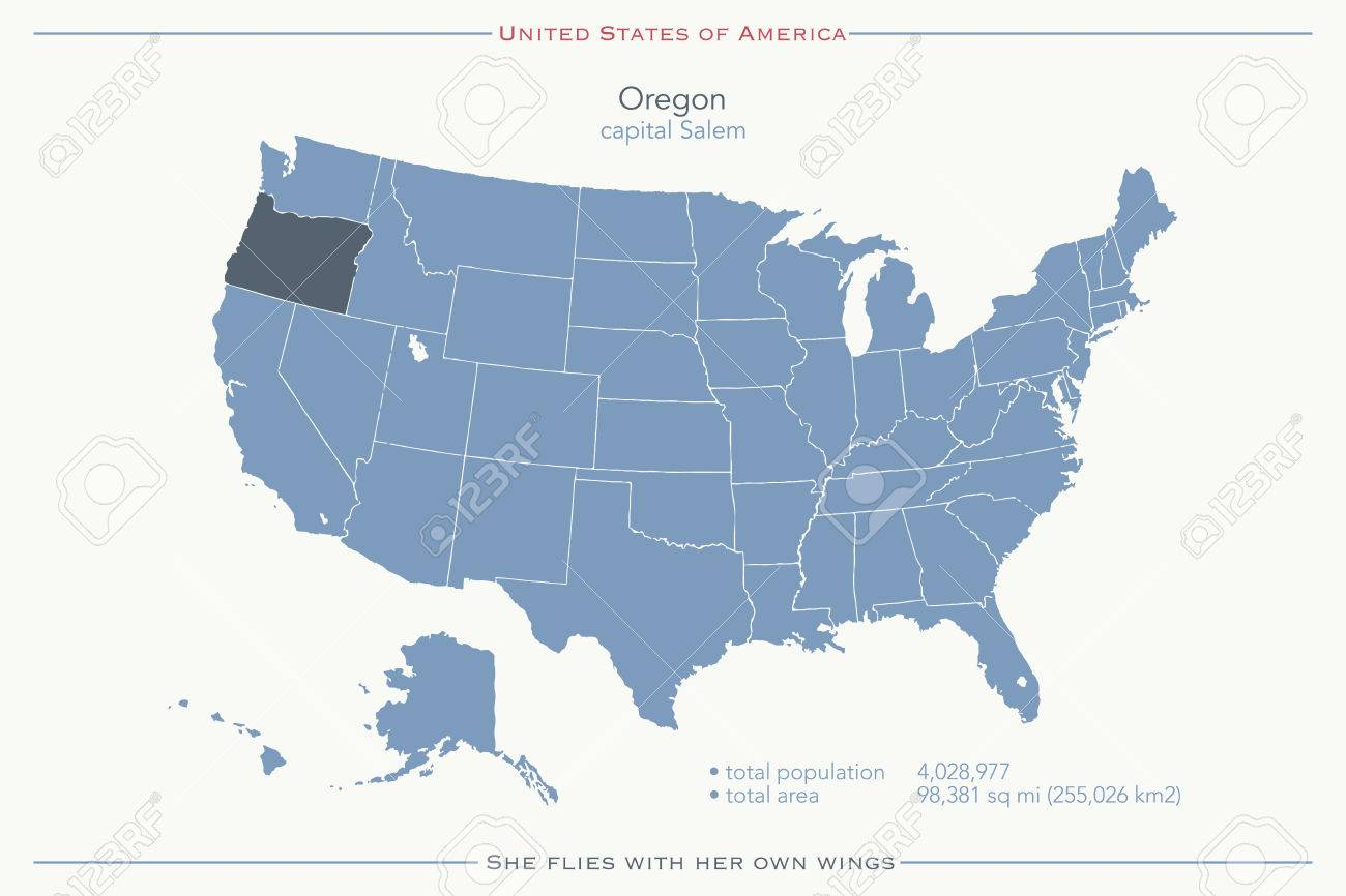 Map Of America Oregon.United States Of America Isolated Map And Oregon State Territory