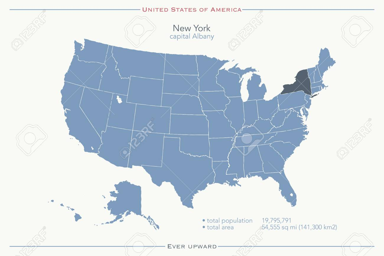 Map Of New York State Usa.United States Of America Isolated Map And New York State Territory