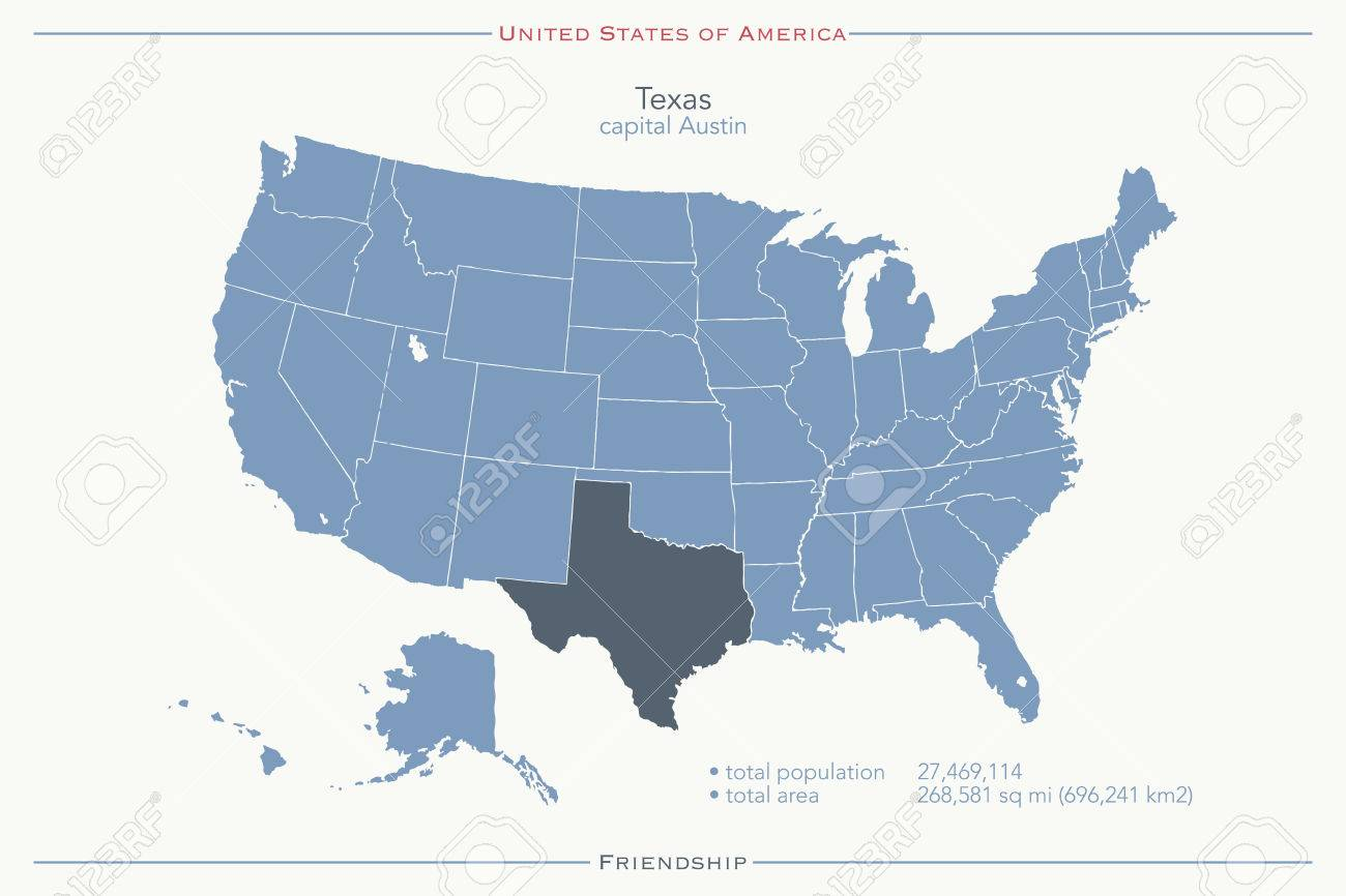 United States Of America Isolated Map And Texas State Territory - Texas political map
