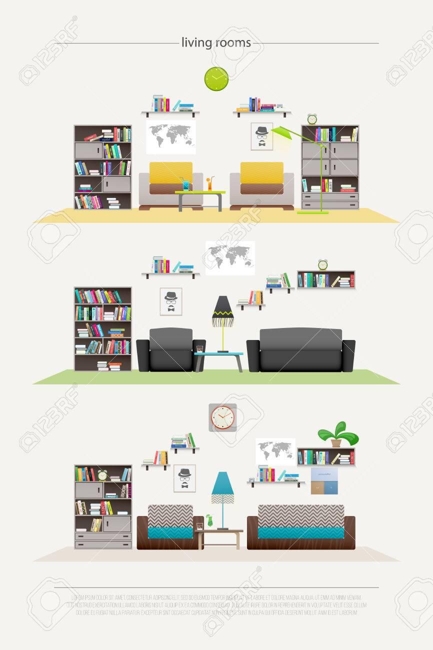 Reihe Von Modernen Lounge Zimmer Mit Möbeln Isoliert Auf Weißem ...