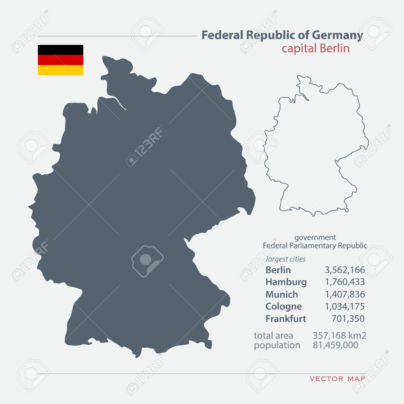 Carte Total Allemagne.Republique Federale D Allemagne Isole Cartes Et Icone Officielle Du Pavillon Allemand Carte Politique Icones Avec Des Informations Generales Etat