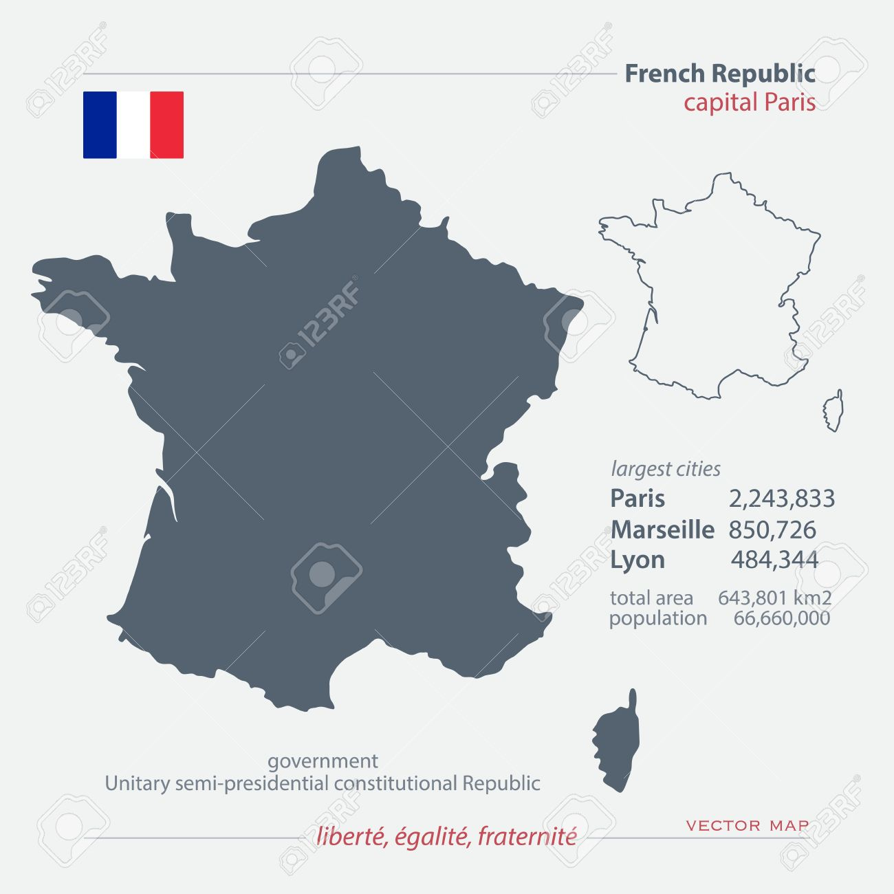 French Republic isolated maps and official flag icon. France.. on philippines map information, sweden map information, ancient greece map information, florida map information,
