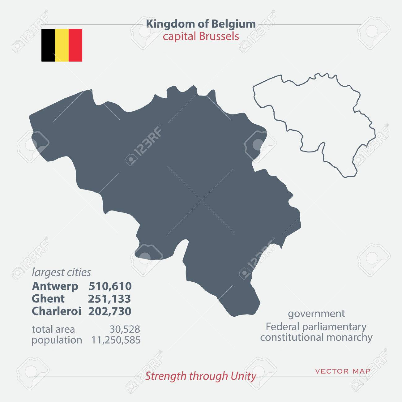 kingdom of belgium isolated maps and official flag icon vector belgian political map icons with