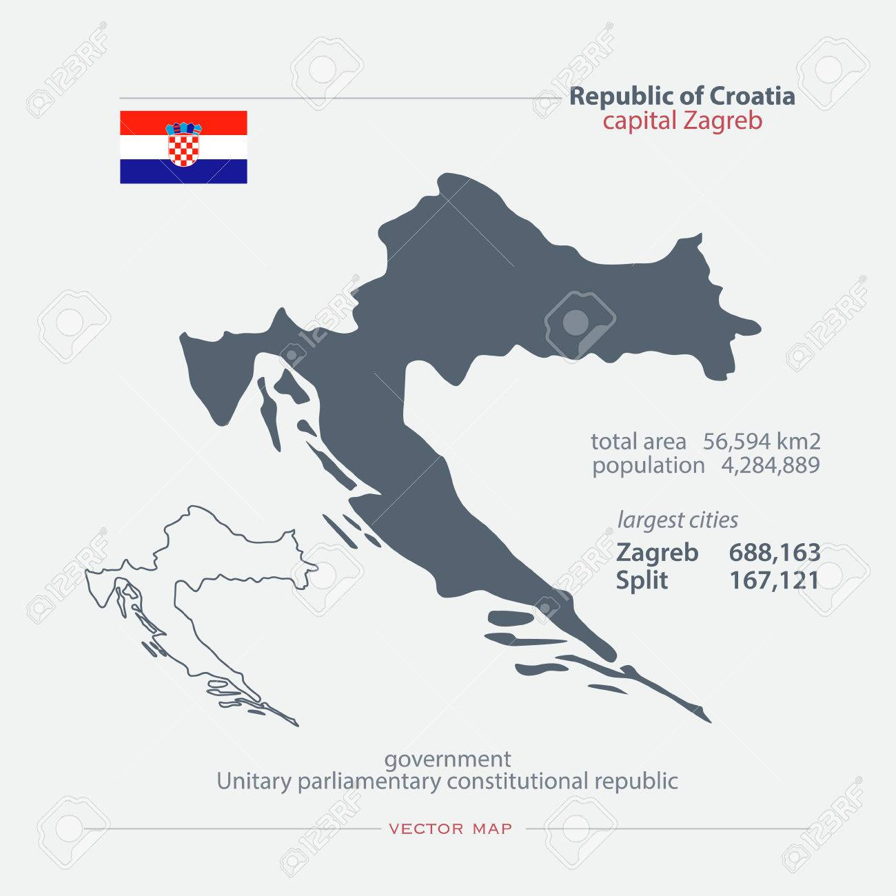 Republic Of Croatia Isolated Maps And Official Flag Icon Vector