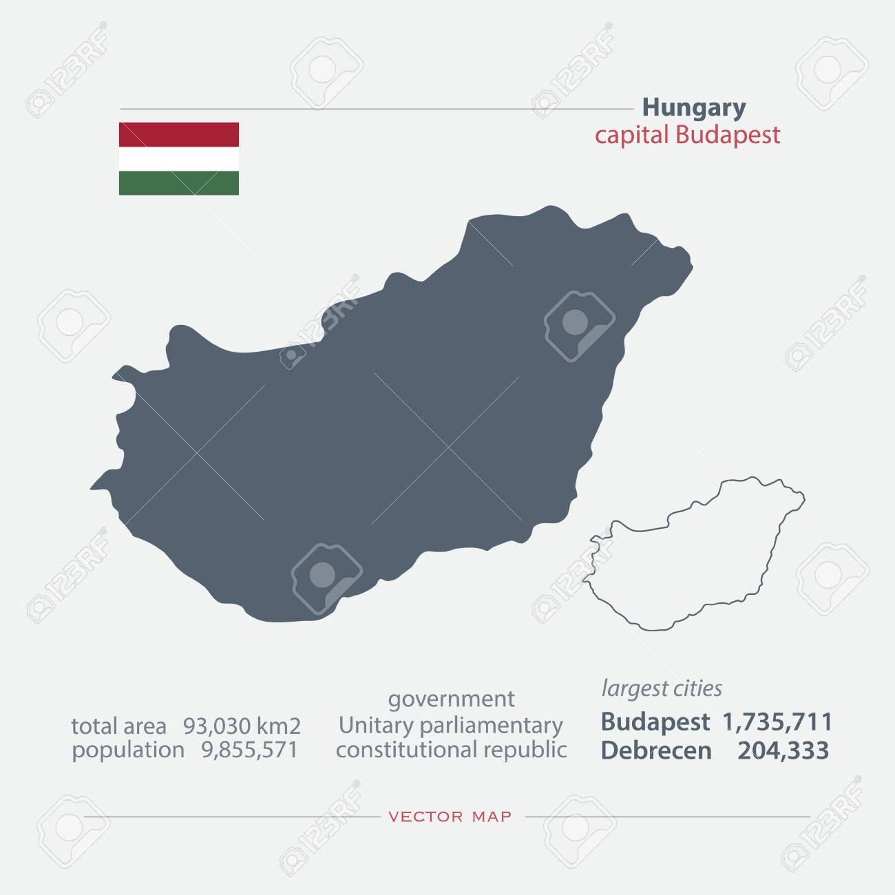Republic Of Hungary Isolated Maps And Official Flag Icon Vector