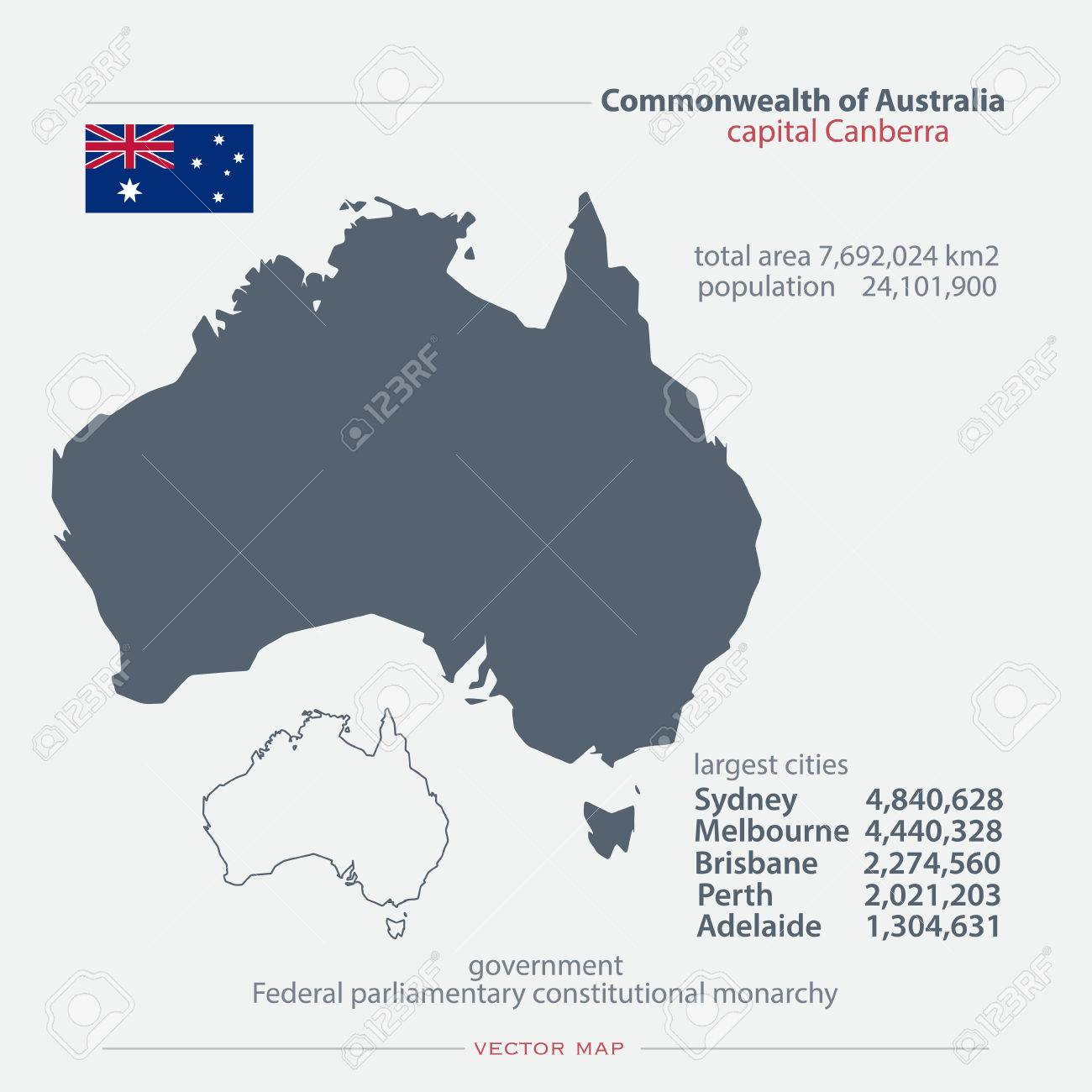 Commonwealth Of Australia Isolated Maps And Official Flag Icon - Australia political map