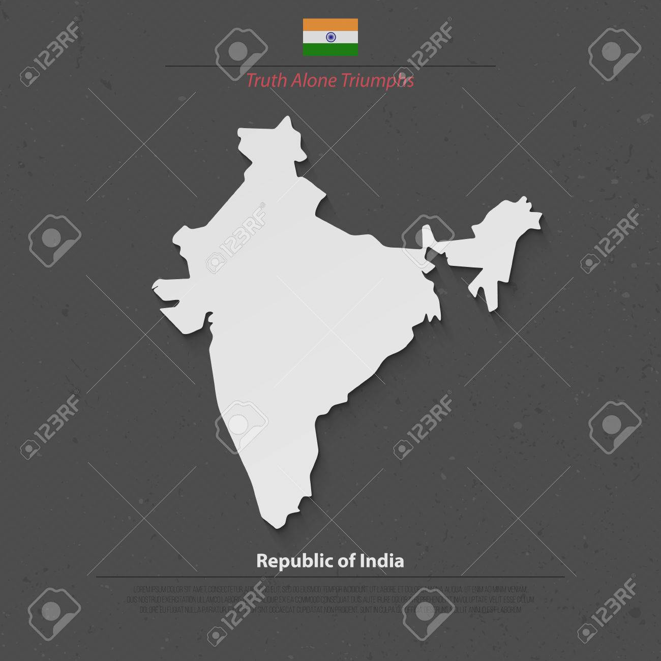Republic Of India Isolated Map And Official Flag Icons Vector