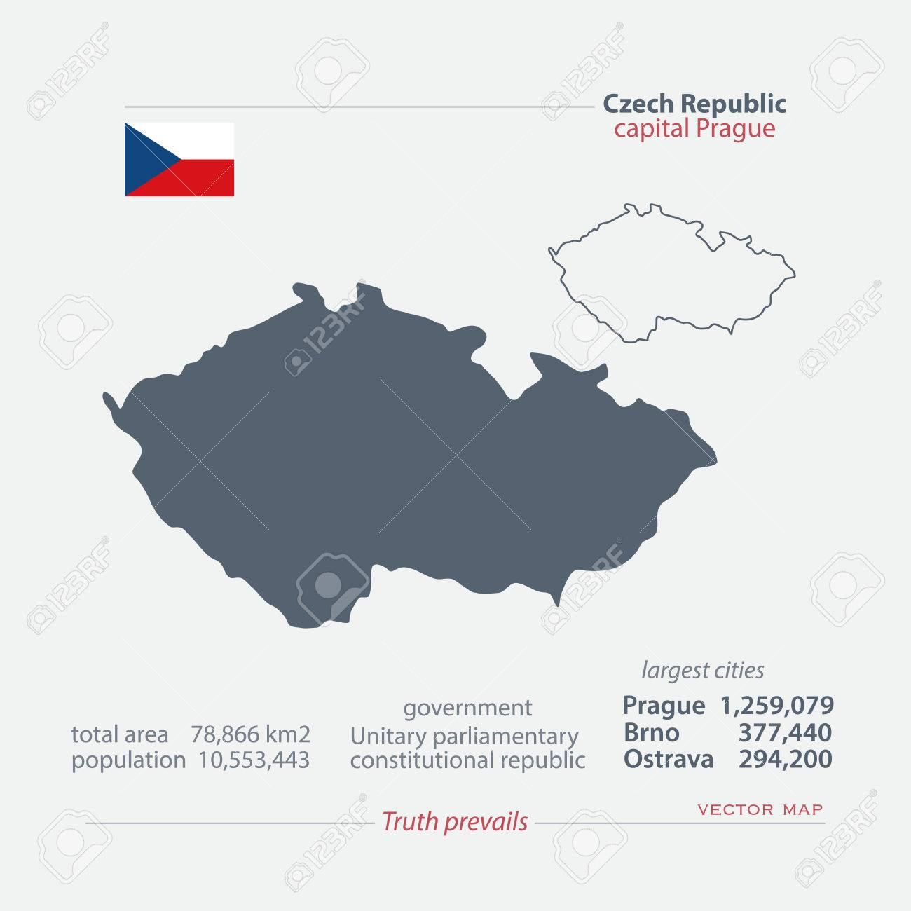 czech republic isolated maps and official flag icon vector czech