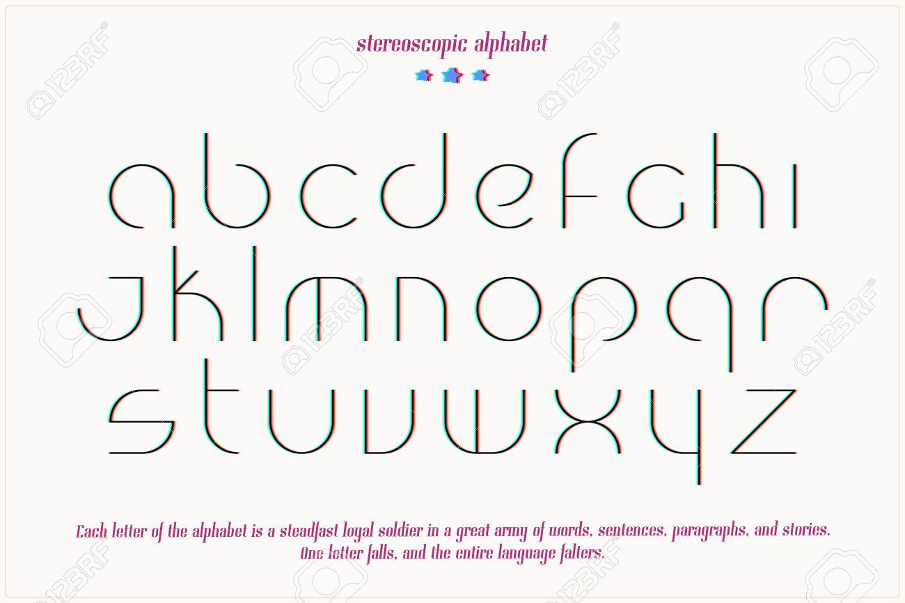 Linea Delgada Letras 3d Efecto Del Alfabeto Aisladas Sobre Fondo