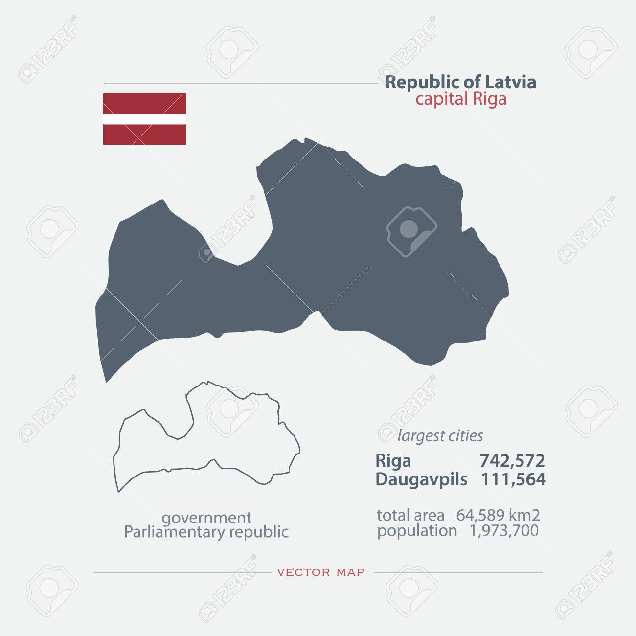Republic Of Latvia Isolated Maps And Official Flag Icon Vector