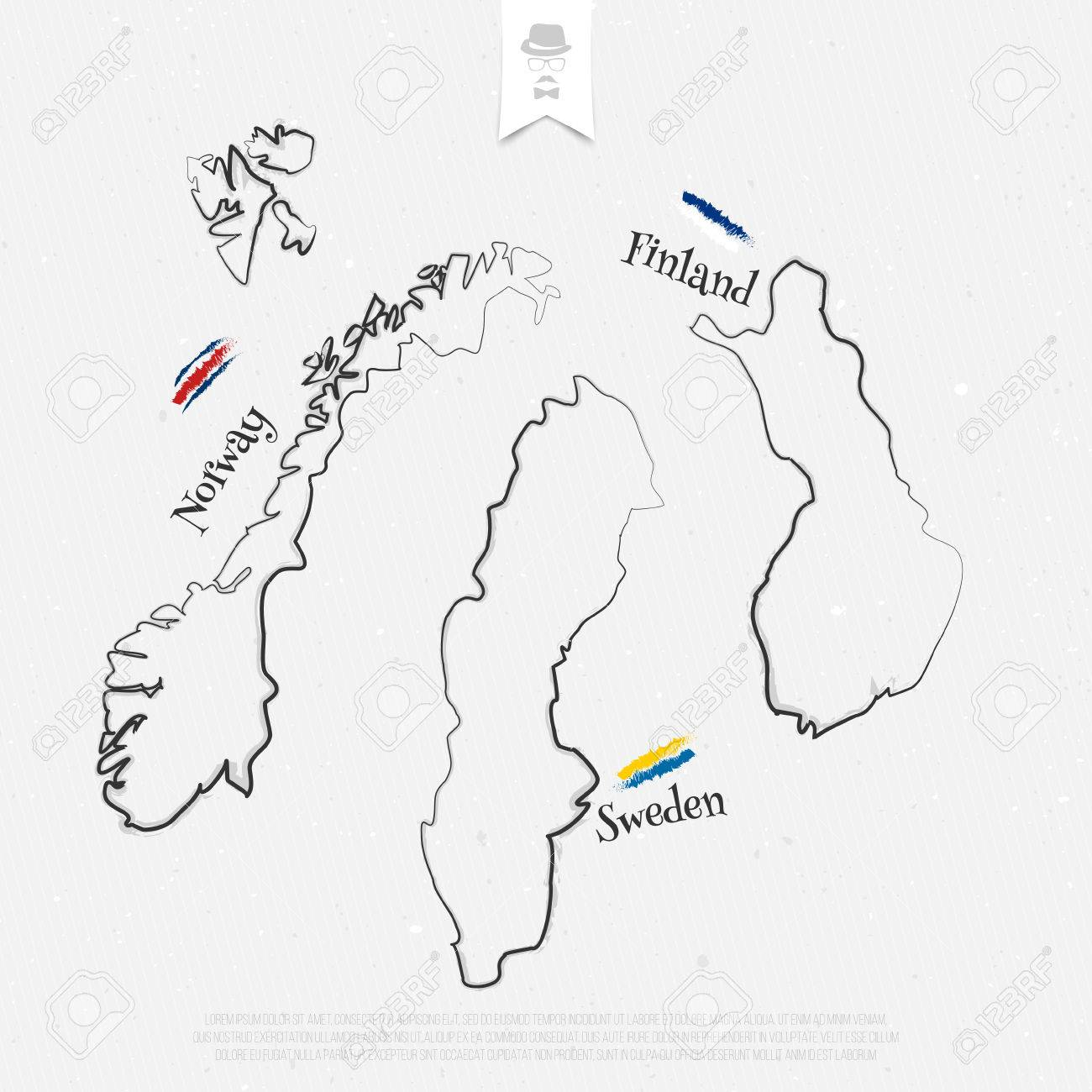 Picture of: Finland Sweden And Norway Outline Maps And Official Colors Over Royalty Free Cliparts Vectors And Stock Illustration Image 58674473