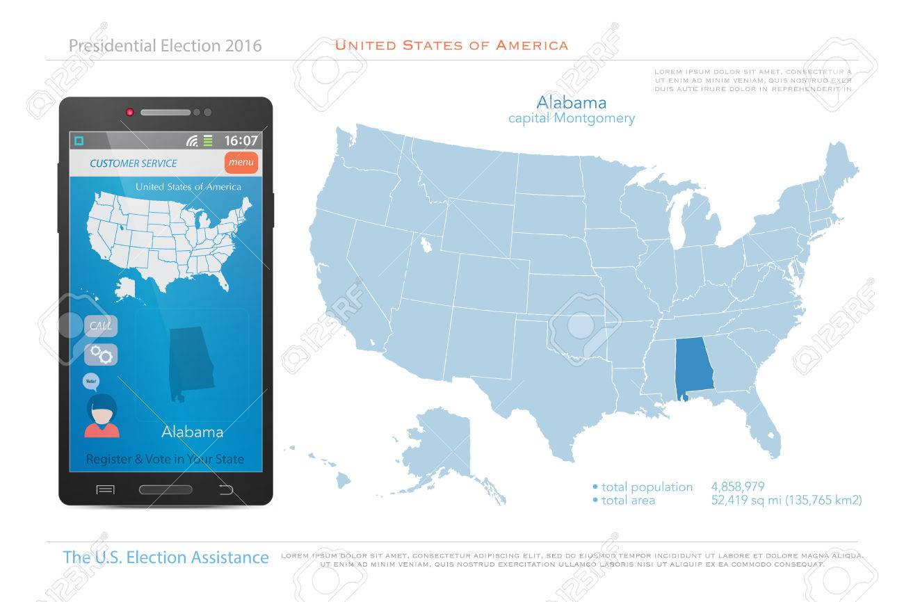 United States Of America Maps And Alabama State Territory Vector