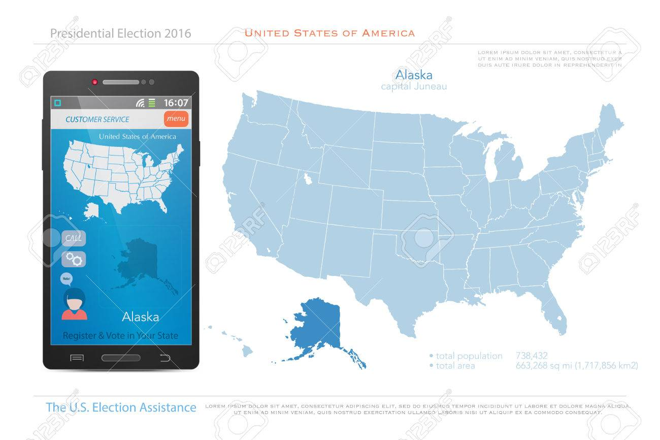 Political Map Of Alaska.United States Of America Maps And Alaska State Territory Vector