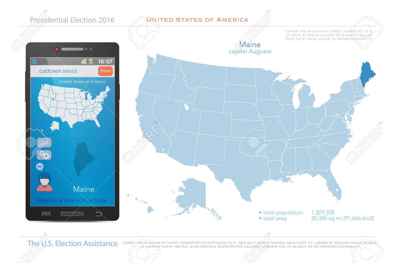 United States Of America Maps And Maine State Territory. Vector ...