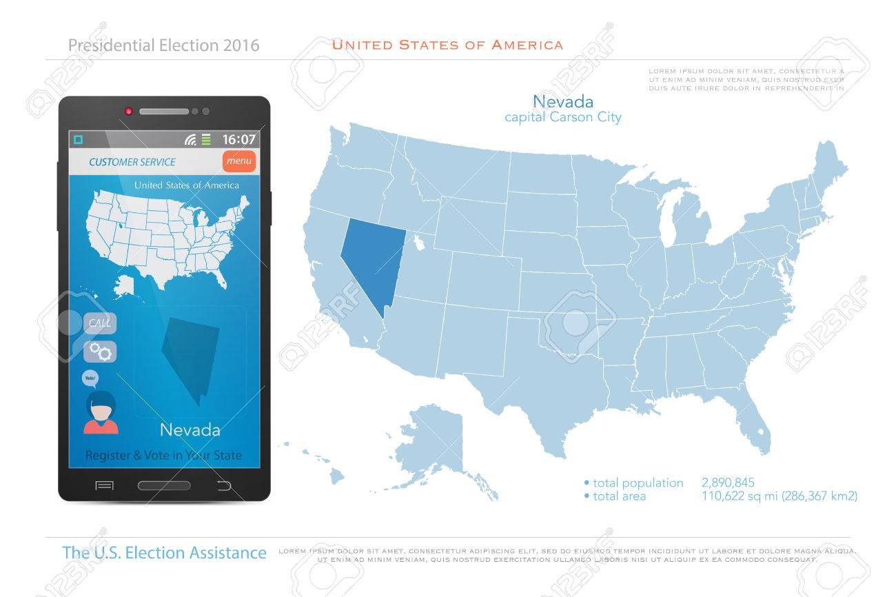 Political Map Of Nevada.United States Of America Maps And Nevada State Territory Vector