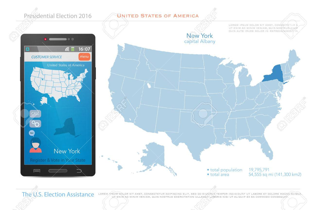 United States Of America Maps And New York State Territory Vector