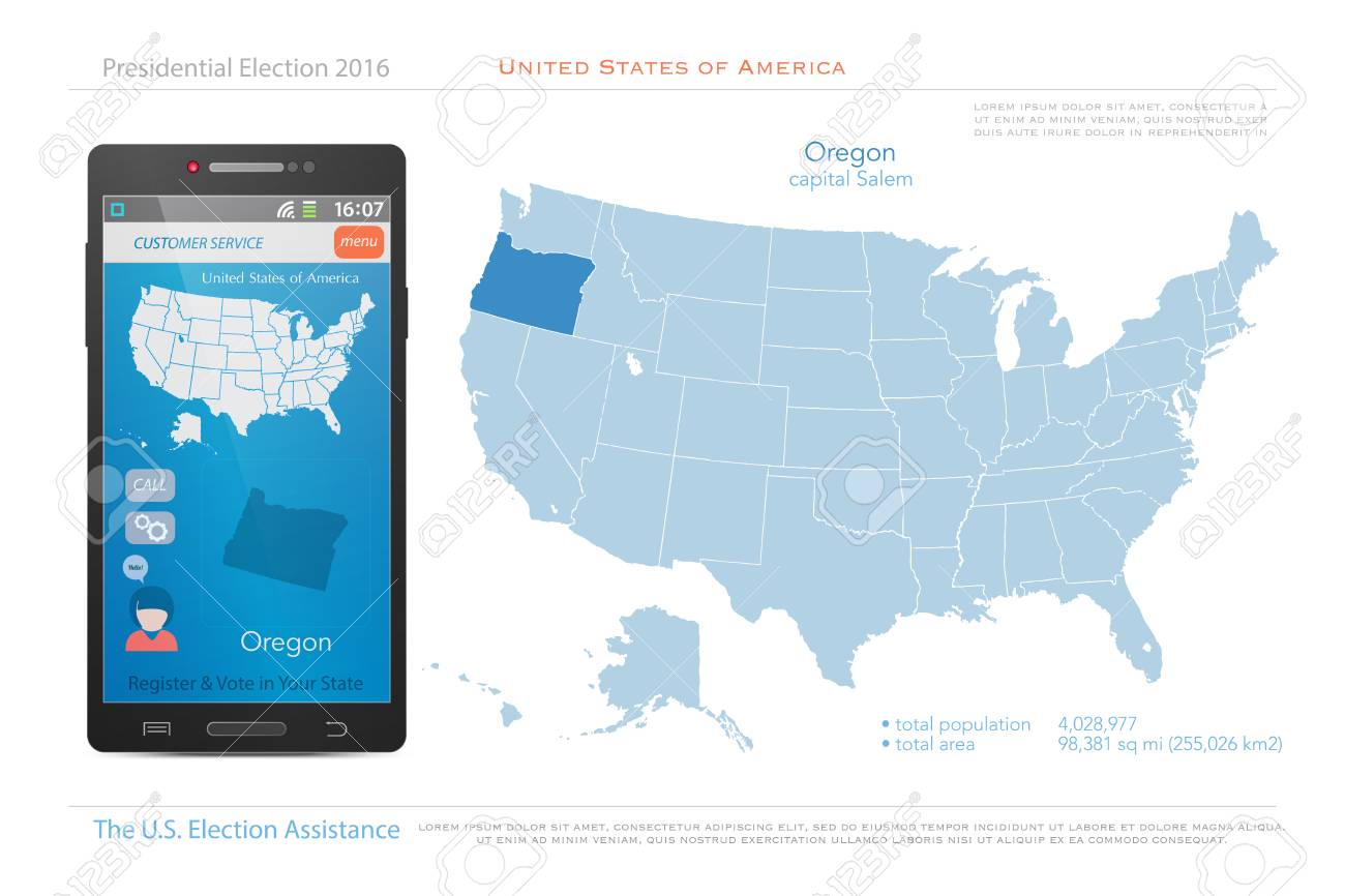 Map Of America Oregon.United States Of America Maps And Oregon State Territory Vector